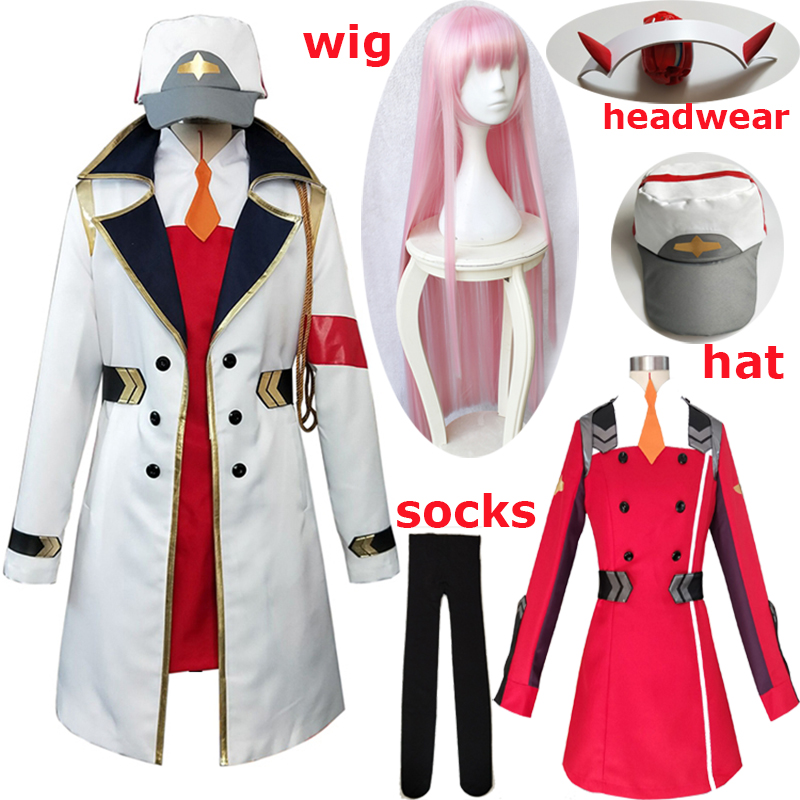 Anime DARLING In The Franxx 02 Red Cosplay Costume Zero Two Cosplay Women Costume Dress Full Sets Wig Hat Cloak Free Shiping