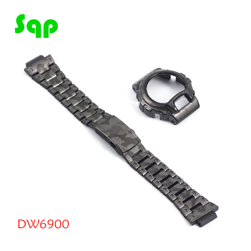 New Arrival DW6900 Stainless Steel Black Camouflage Watch Set Watchband Bezel/Case Metal