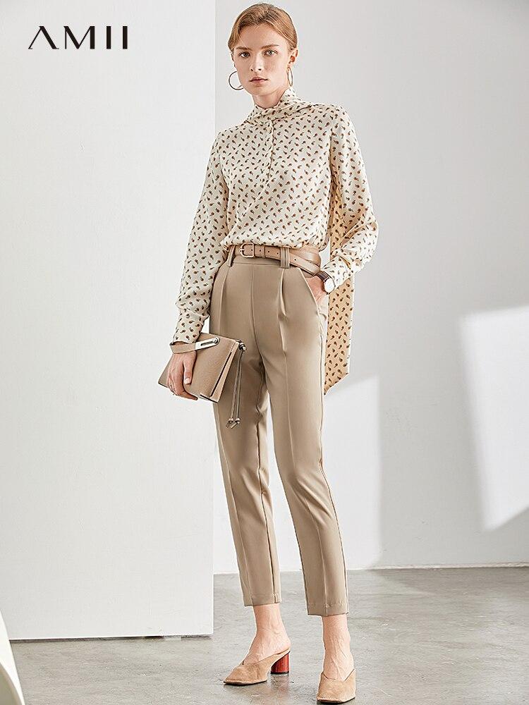 Amii Autumn Women Chiffon Pants Female Fashion Solid High Waist Pocket Slim Straight Trousers 11960087