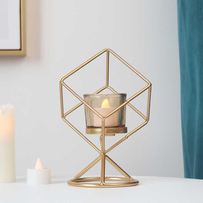 Геометрическая статуэтка подсвечник украшение стола аксессуары Миниатюрная модель креативный ужин при свечах декор орнамент ремесла