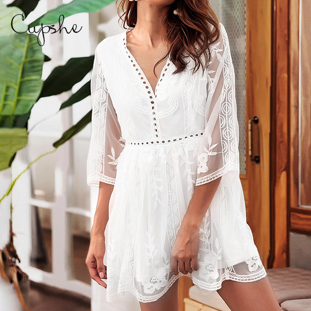 CUPSHE Elegant V Neck Women Summer Embroidery Mini Dress 2019 Beach White Floral Lace Sundress Hollow Back Zipper Vestidos