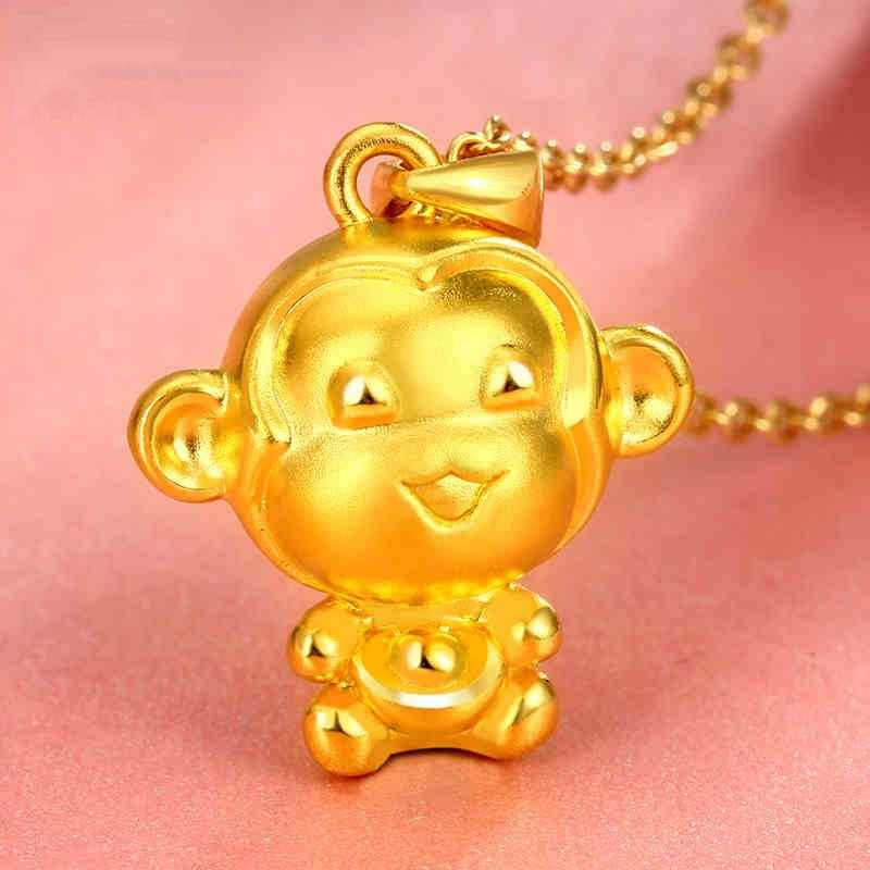 Zhen Rong 3D Keras Emas Liontin Wanita Berlapis Emas Kalung Zodiak Cina Monyet Zodiak Emas 24 K Perhiasan!