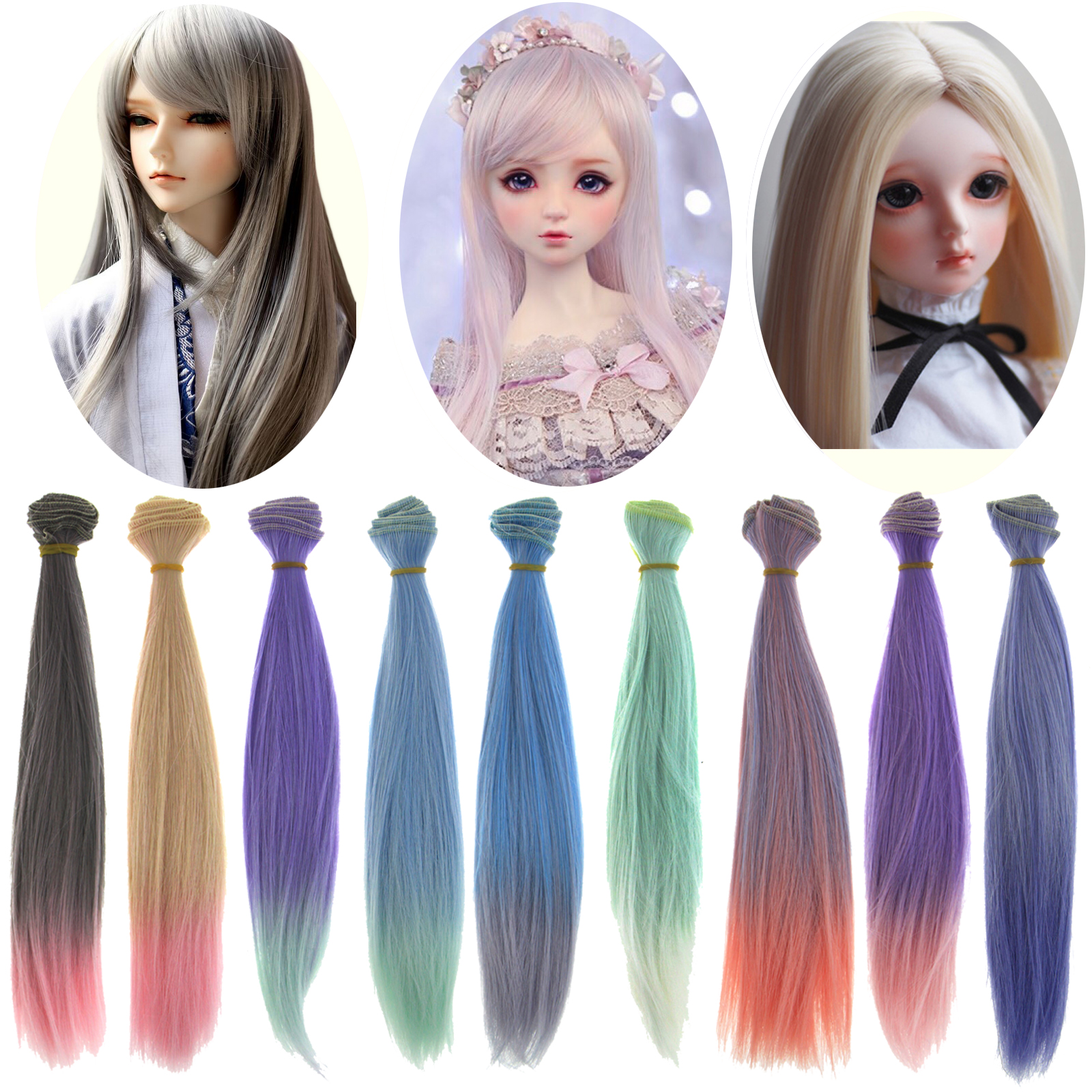 1 Pcs High Temperature Fiber 25 CM * 100 CM Gradual Color BJD Doll Wigs DIY Straight Hair For 1/12 1/6 Doll Accessories Toy