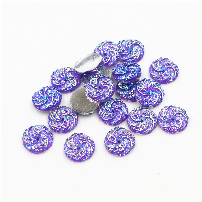 New Fashion 40pcs 12mm Dark Purple AB Colors Windmill Style Flat Back Resin Cabochon For Bracelet Earrings Accessories-G1-06