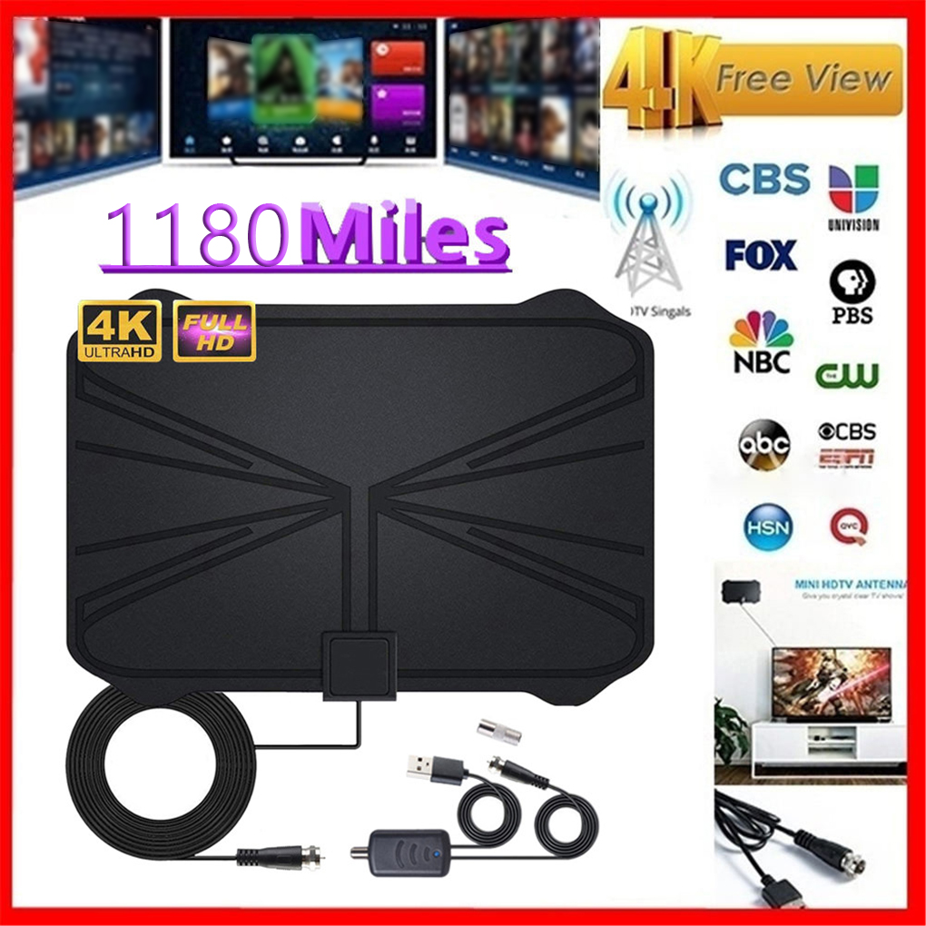 4K Digital HDTV Aerial Indoor Amplified Antenna 1180 Miles Range HD1080P DVBT2 Freeview TV HD Digital TV Antenna