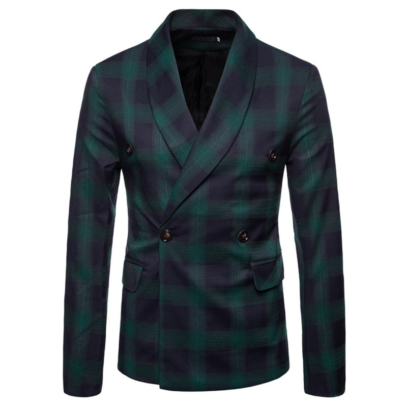 M-4XL Autumn Men Blazers Plaid Scarf Collar Winter Outerwear Smart Casual Slim Jackets For Male Plus Size Coats Suits New