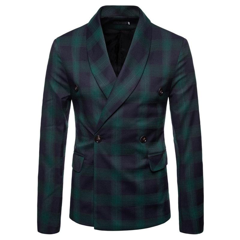 M-4XL Autumn Men Blazers Plaid Scarf Collar Winter Outerwear Smart Casual Slim Jackets For Male Plus Size Coats Suits New