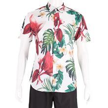 Mens Shirts Hawaiian Print Street Wear Turn-down Collar Casual Streetwear Hawaiian Tropical Shirt  Beach Sunset Leaf hollowed leaf printed hawaiian shirt