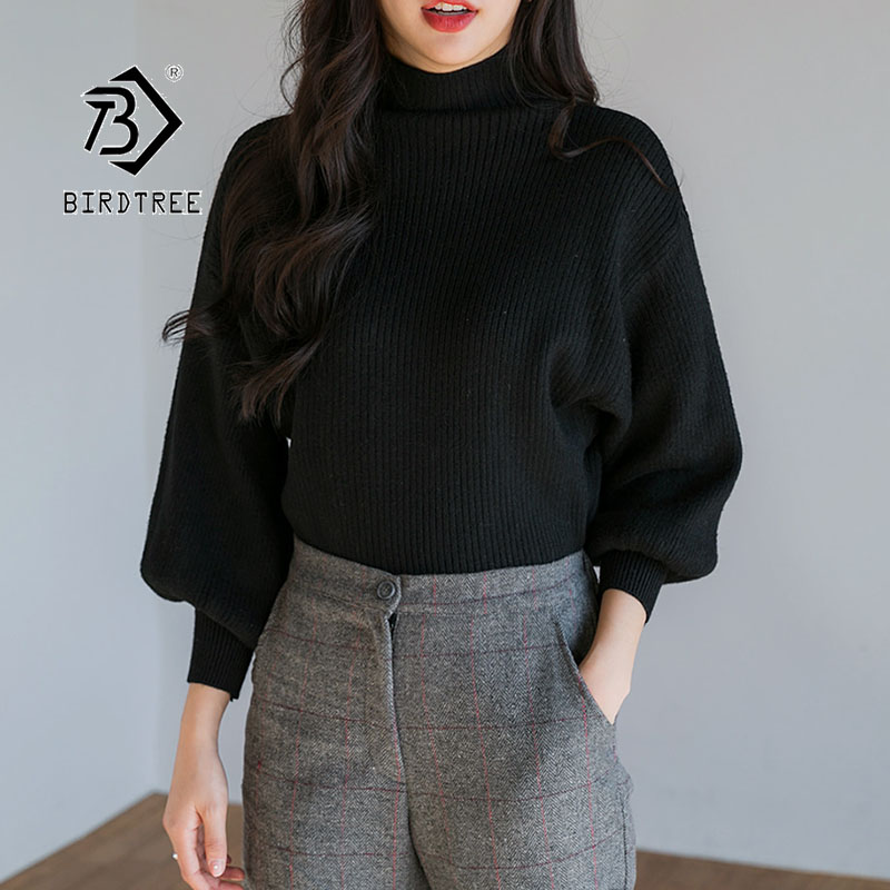 2019 Winter New Women's Pullovers Sweater Solid Turtleneck Batwing Sleeve Loose Knitting Korean Casual Fashion Tops T98311D