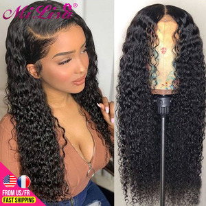 13X6 X1 Curly Lace Front Human Hair Wigs Transparent HD Lace Frontal Wigs 30 Inch Mi Lisa Malaysian Remy 4x4 Lace Closure Wigs(China)