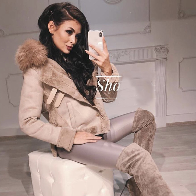 Women leather jackets Winter Suede Leather Jacket Women Short Lamb Wool Motorcycle Jacket Thick Lambs Fur Warm Coat faux fur