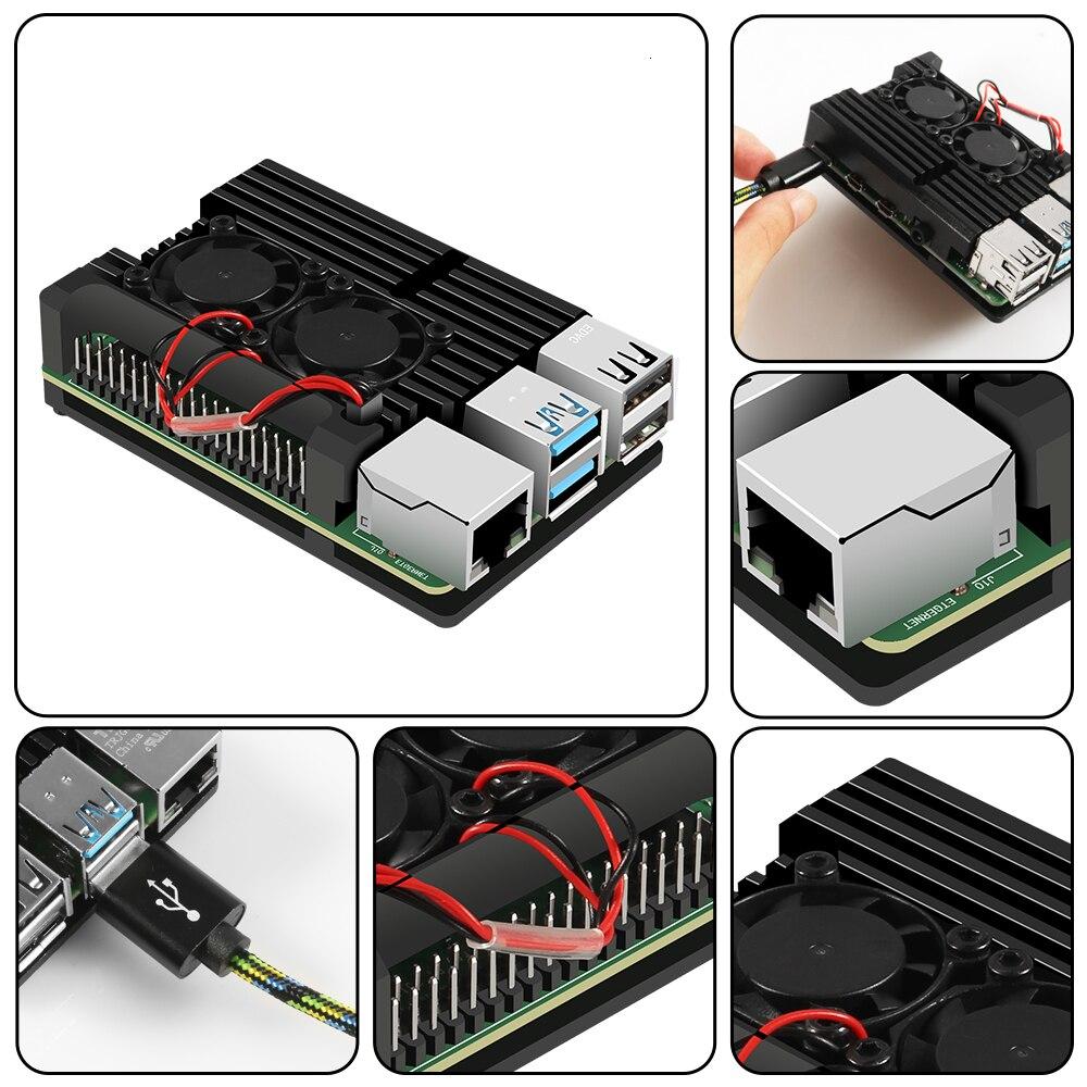raspberry pi Raspberry Pi 4 B Case Model B Armor Aluminum Alloy Case Passive Cooling Shell Metal Enclosure Heat Dissipation (3)
