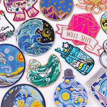 Van Gogh Embroidered Patches on Clothes DIY Cartoon Wave Applique Clothing Thermoadhesive Patches for Clothing Stickers Badges