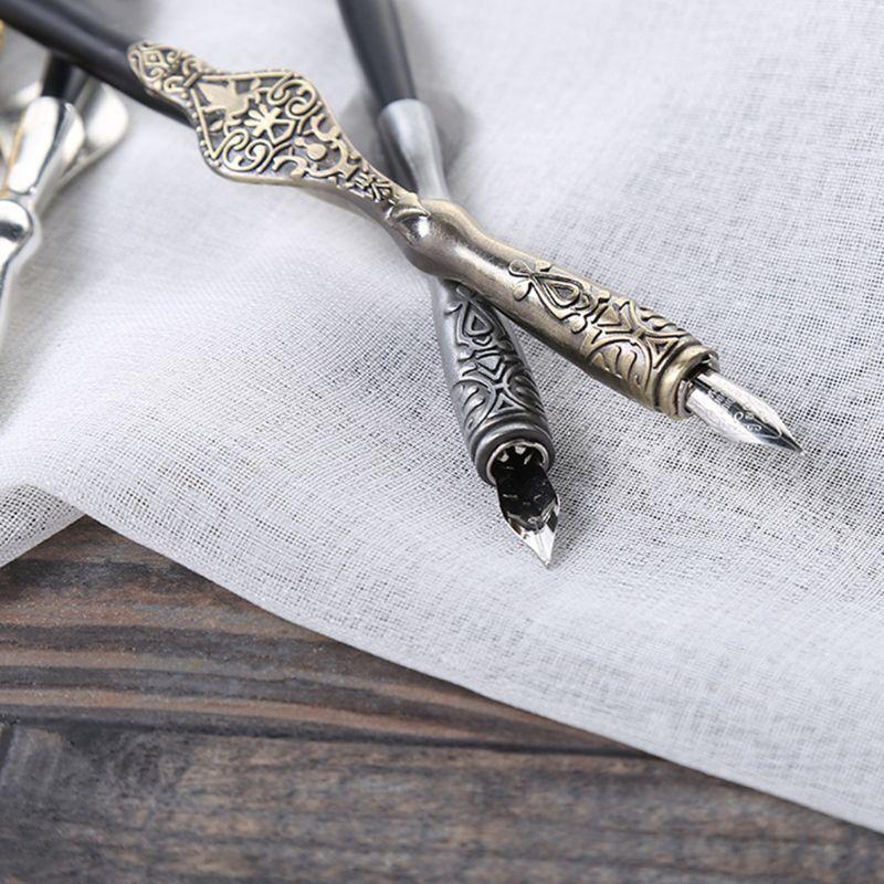 1PC Metal Carved Craft Script Antique Dip Pen Oblique Calligraphy Pen Holder