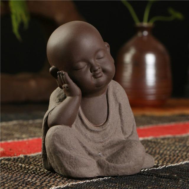 Small Monk Buddha statues wear  Gold Necklace color sand ceramic home club geomantic decoration Purple Sand Figurines Tea Pet 5