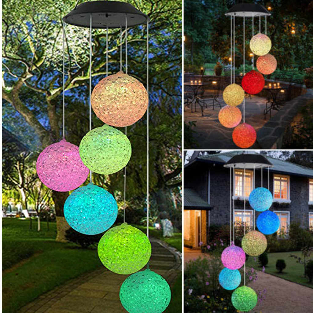 Solar Power Lights Wind Chime Led Lamp Garden Hanging Spinner Color Changing Outdoor Lights For Home Garden Lighting Decoration Aliexpress - Outdoor Vorhang Wind