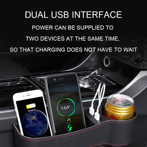 Image 5 - Car Seat Gap Organizer Universal Car Accessories Car Organizer Box Leather Auto Storage Case With USB Charging Stowing Tidying
