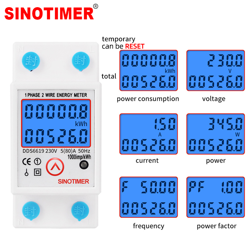 Din Rail Digital Single Phase Reset Zero Energy Meter KWh Voltage Current Power Consumption Meter Wattmeter Electricity 220V AC