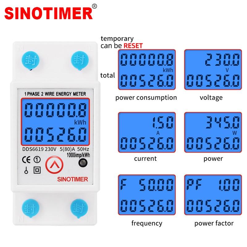 Din Rail Digital Single Phase Reset Zero Energy Meter KWh Voltage Current Power Consumption Meter Wattmeter Electricity 220V AC