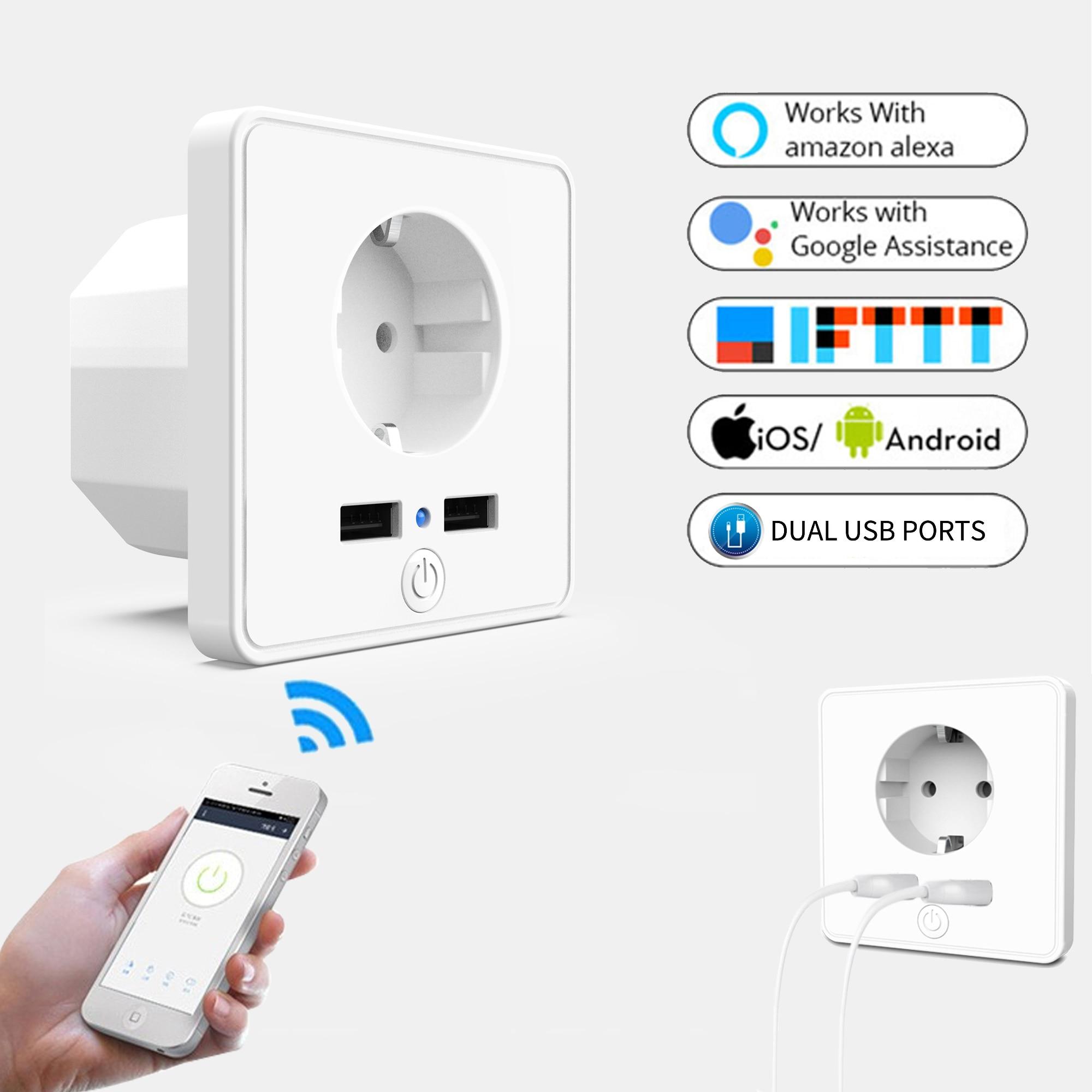 ZUCZUG enchufe Universal inteligente WiFi enchufe de pared enchufe de la UE puertos USB Dual toma de corriente Pop con Alexa Google toma para voz en casa UE/WiFi inteligente pared luz Dimmer interruptor regulador de vida inteligente/Tuya Control remoto APP funciona con Alexa de Amazon y Google
