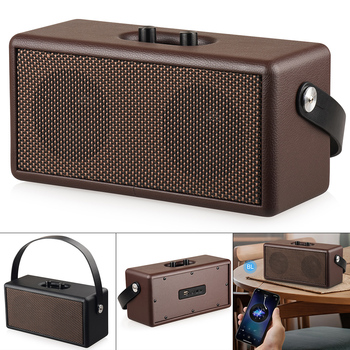 16W Vintage Brown /Black Color Bluetooth Speaker Portable&Retro Wood Design Stereo Sound for Camping/Dancing/Yoga/Outdoor