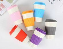 New Reusable Coffee Tea Cup Mug Bamboo Fiber Wheat Straw Travel Cup with Silicone Cup Lid 6 Style Simple Brief Mugs 2019 Hot wheat straw double cup creative portable hand cup environmental protection cup with lid student cup tea coffee water