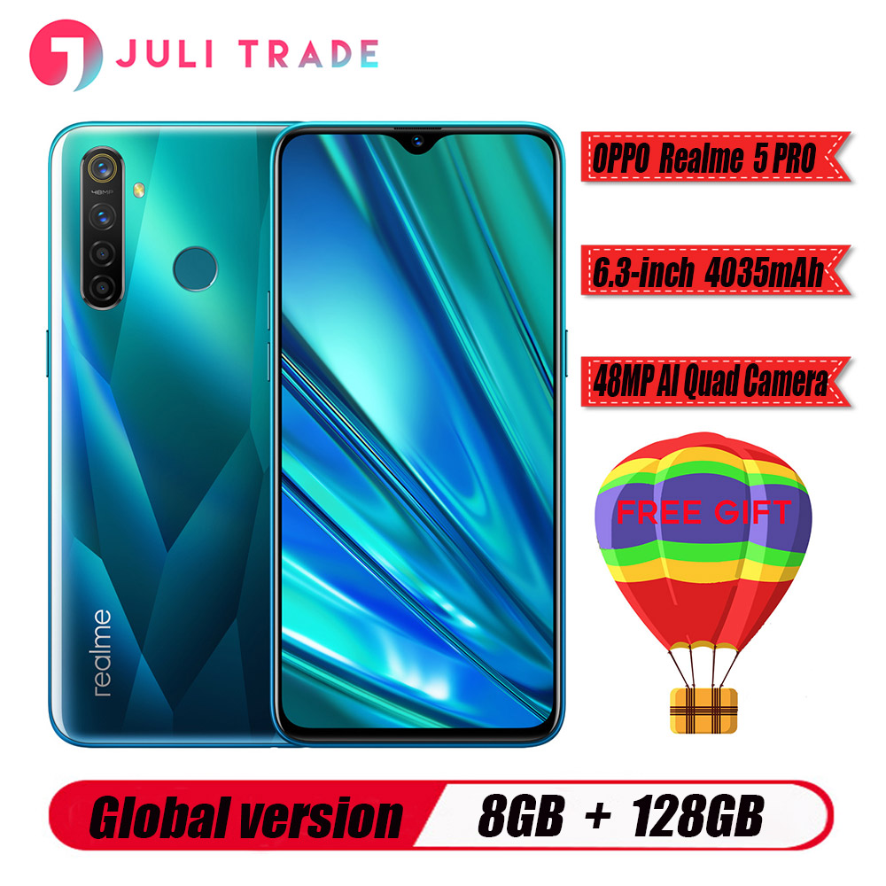 "Global EU version Oppo Realme 5 PRO Mobile Phone Snapdragon 712 AIE 4305mah 6.3"" Full Screen 8GB RAM 128B ROM 48.0MP 5 Cameras"