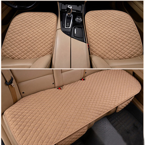 Image 4 - Flax Car Seat Covers Front/Rear/ Full Set Choose Car Seat Cushion Linen Fabric Seat Pad Protector Car Accessories Anti Slip