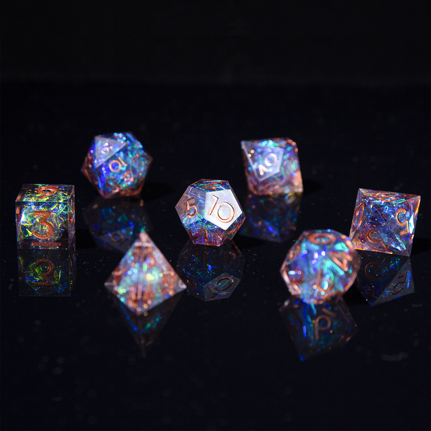 Dice Playing-Game Polyhedral-Mirror DND Role Sharp-Edges 7-Die with And Beautiful Inclusions