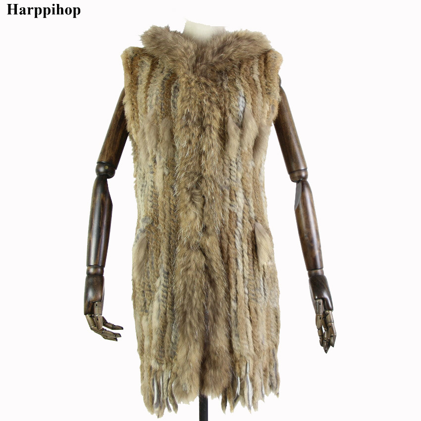 Harppihop* Women New Genuine Rabbit Fur Vest With Hood Fashion Raccoon Fur Collar Waistcoats Warm Natural Fur Long Gilet