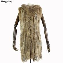 Harppihop* Women New Genuine Rabbit Fur Vest With Hood Fashion Raccoon