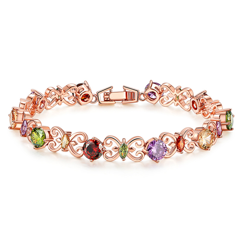Luxury Wedding Jewelry Heart Shape Rose Gold Color Chain Bracelet for Women High Quality Cubic Zircon Bracelets for Party Gift