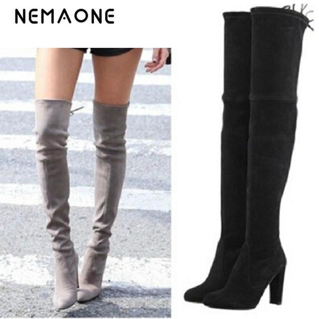 NEMAONE النساء تمتد فو الجلد المدبوغ الفخذ أحذية عالية مثير موضة فوق الركبة أحذية عالية الكعب أحذية امرأة أسود رمادي winated
