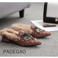 Chaussures de fête élégantes pour femmes, Mules à la mode, chaussures de luxe en cristal, pantoufles coréennes, collection 2019