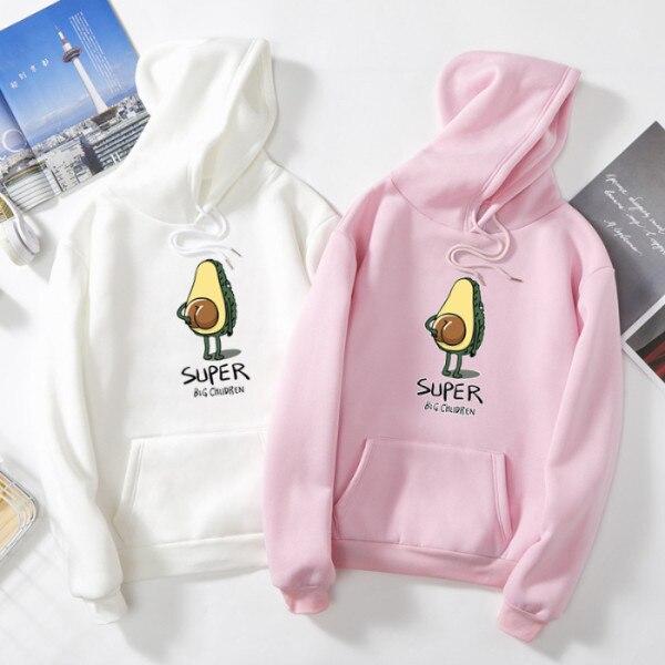Women Hoodies Letter Avocado Hoodies Hooded Long Sleeve Hoodie Casual Pullover Sweatshirt Fleece Harajuku Hoodies With Pocket