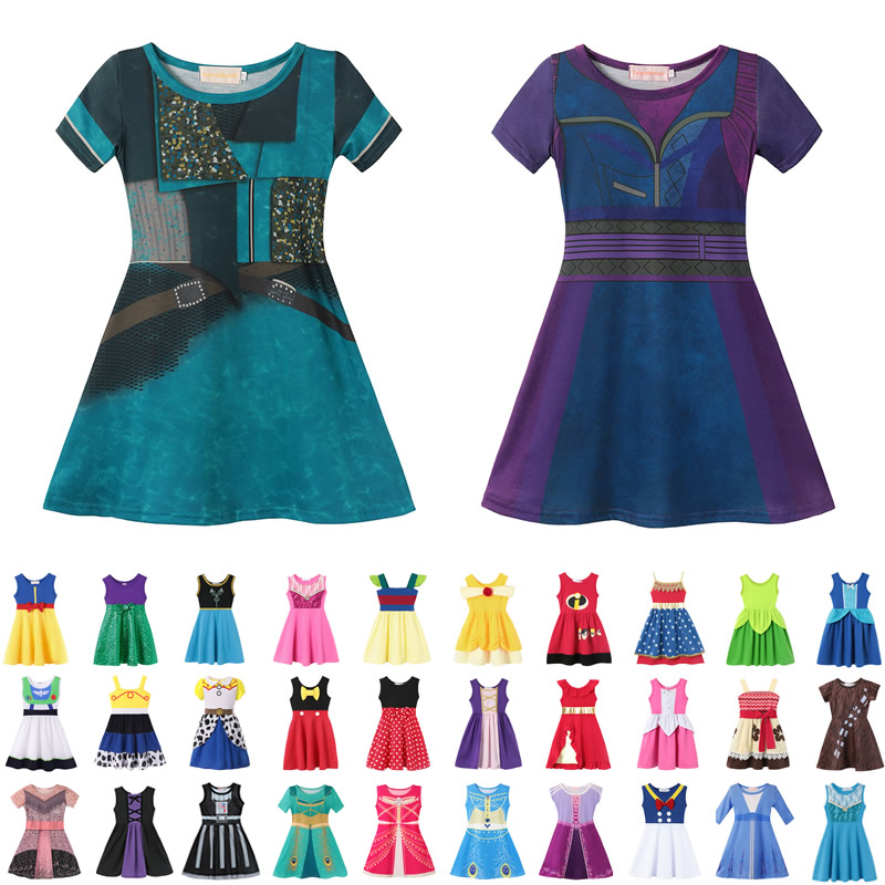 Kids Descendants 3 Mal Dress Up Girls Maleficent Cosplay Costumes Aladdin Jasmine Role Playing Outfits Elsa Anna Toy Story Woody