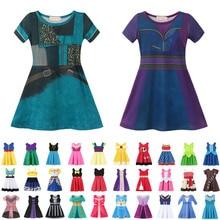 Potomek Elsa Anna Belle Girls Dress ubranka dla dzieci Kid kostium księżniczki elegancki maluch letnia impreza ceremonia sukienka dla dziewczynki