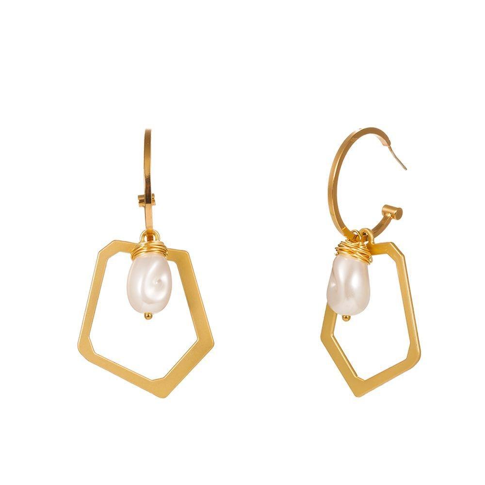 Bohemian Style Women's Natural Pearl drop Earring Gold Long Chain Earrings Shell Earrings Copper Pearl accessories femme gift