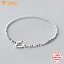 Trusta 100% 925 stałe prawdziwe srebro moda koraliki serce bransoletka z giwazdką 16cm dla nastoletnie dziewczyny Lady prezent kobiety biżuteria DS1014