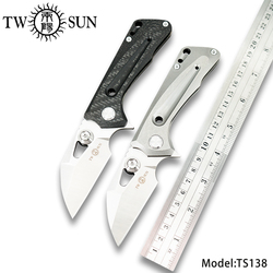 TWOSUN d2 blade flipper folding Pocket Knife tactical hunting knife outdoor tool Camping knife EDC TC4 Titanium Fast Open TS138