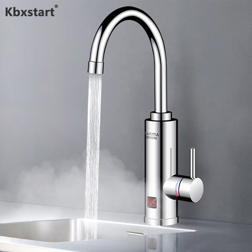 Kbxstart 220V Instant Electric Faucet Tankless 3 Seconds Speed Heat 360° Adjustment Direction Water Heater Hot And Cold 3000W
