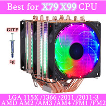 6 Heatpipes Rgb Cpu Koeler Radiator Koeling 3PIN 4PIN 2 Fan Voor Intel 1150 1155 1156 1366 2011 X79 X99 moederbord AM2/AM3/AM4(China)