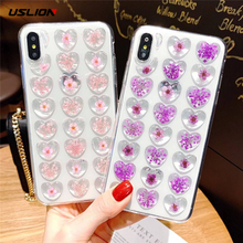 USLION Epoxy 3D Flowes Mobile Phone Cover For Iphone 6 6S Plus 7 8 7Plus Love Heart Transparent Back Case