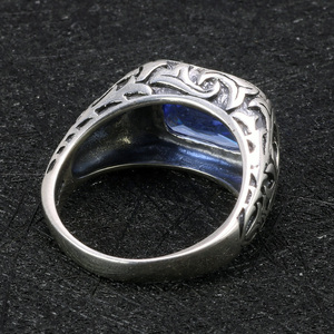 Image 4 - Real Pure 925 Sterling Silver Rings For Men Blue Natural Crystal Stone Mens Ring Vintage Hollow Engraved Flower Fine Jewelry