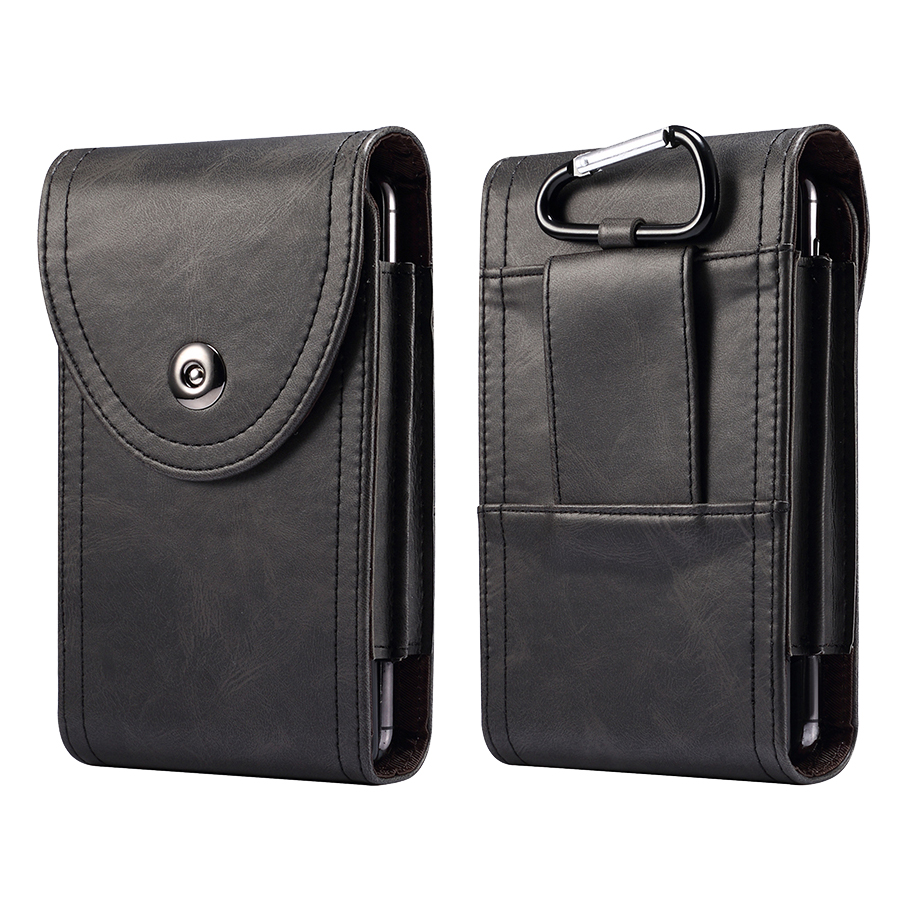 Two Pockets Wallet Business Leather Phone <font><b>Case</b></font> Bag For <font><b>iPhone</b></font> Samsung S20 Xiaomi Huawei Universal Mobile Pouch <font><b>Belt</b></font> Holster Hook image