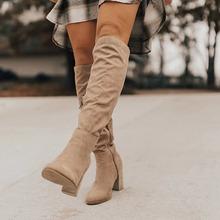 2020 kobiet do kolan buty zasznurować Sexy wysokie obcasy kobiet buty zasznurować buty zimowe ciepłe rozmiar nowe modne buty tanie tanio Giyu CN (pochodzenie) Flock Podkolanówki ROME Stałe Plac heel Podstawowe Poliester Szpiczasty nosek Wiosna jesień RUBBER