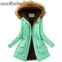 Aonibeier-Parka con Cuello de piel para mujer, abrigos cálidos de talla grande, sudaderas con capucha, prendas de vestir de algodón para Otoño e Invierno