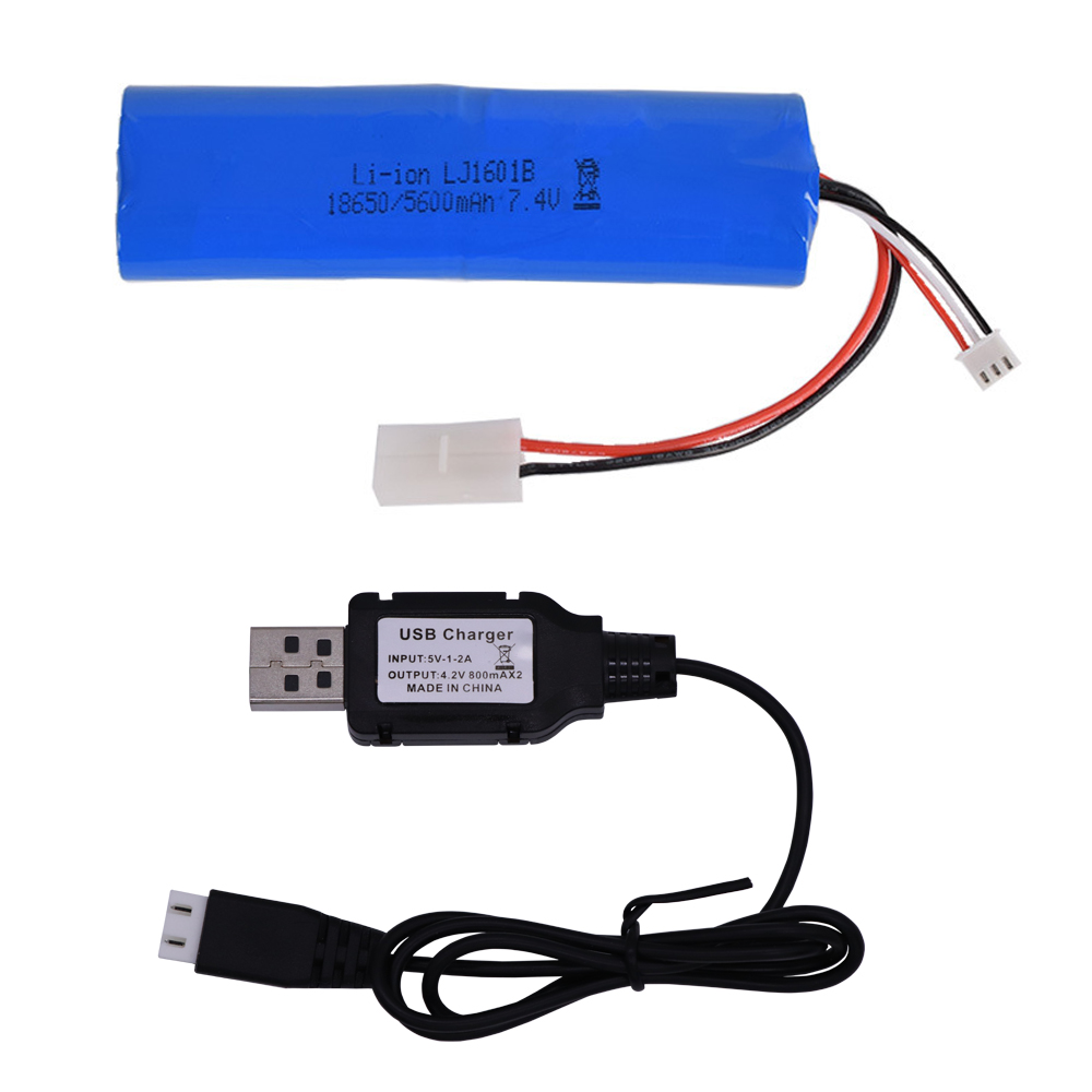 Lipo Battery with USB charger for <font><b>heng</b></font> <font><b>long</b></font> 3818 3889 3809 <font><b>RC</b></font> <font><b>Tanks</b></font> toys spare <font><b>parts</b></font> 7.4V 5600mah 2S high capacity toys battery image