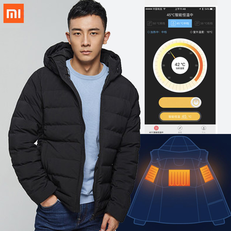 Xiaomi Vancl Men's Down Jacket Thickening 2019 New Smart App Control Winter Temperature Control Heating Goose Down Clothing
