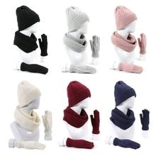 Gloves-Set Hat Beanie Scarf Warm-Cap Knitted Winter Women 3pcs Neck-Warmer Thick Unisex